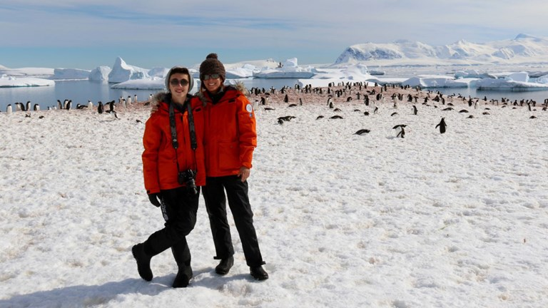 O'Shaughnessy and her son on a recent trip to Antarctica
