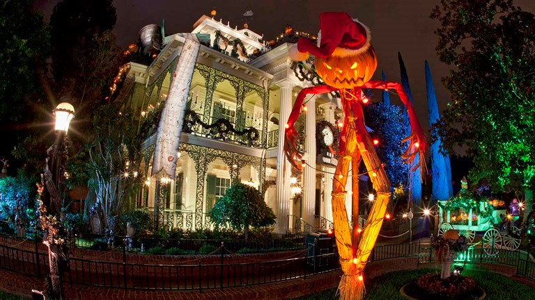"Haunted Mansion Holiday brings the frightfully fun cheer of Tim Burton's ""The Nightmare Before Christmas"" to Disneyland."