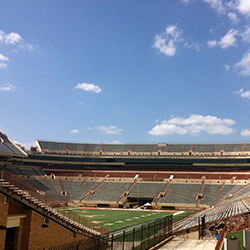 <p>The Longhorns' football stadium at University of Texas at Austin holds more than 100,000 spectators. // © 2015 Samantha...