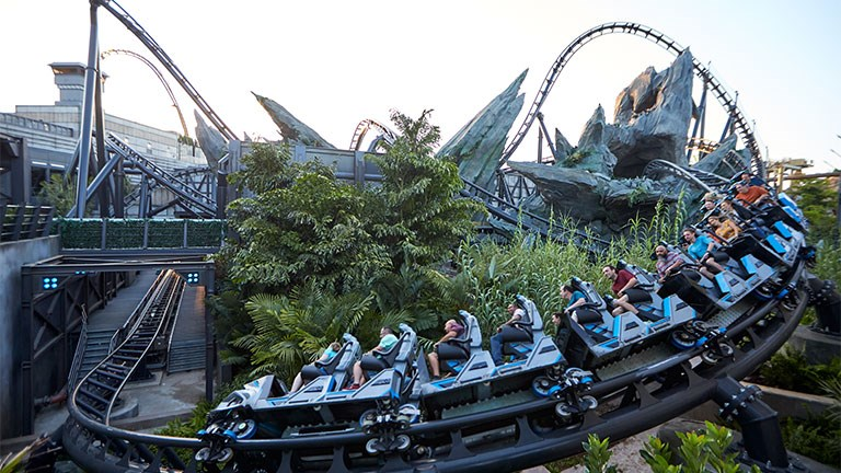 The Jurassic World VelociCoaster is located at Universal's Islands of Adventure park in Orlando.