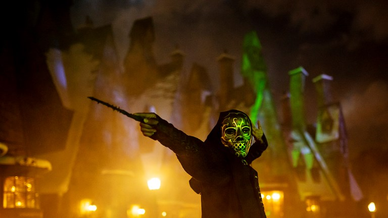 In Orlando, a preshow brings Death Eaters into Hogsmeade.